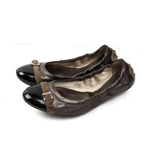 Tods Brown and Black Metallic Leather Flats
